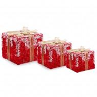 Новогоднее украшение Набор из 3-х красных подарков 15см,20см,25см  (свет)