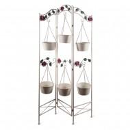 Подставка для цветов с подвесным кашпо белая  90х155 см