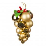 Новогоднее украшение  Гроздь из шаров 14х22  см золотая