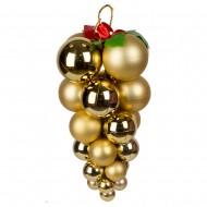 Новогоднее украшение  Гроздь из шаров 16х30 см золотая