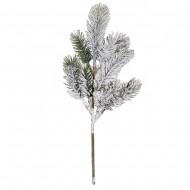 Новогоднее украшение Ветка еловая в инее 34х10 см
