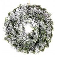 Новогоднее украшение Венок еловый в инее 30 см
