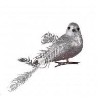 Новогоднее украшение Птички 3 шт 17 см (цвет серебро)