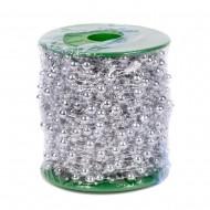 Декоративные бусы серебряные 14 мм 5 м в рулоне