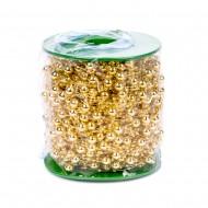 Декоративные золотые бусы  8+3  мм 60 м в рулоне