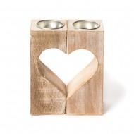 Подсвечник дерево Сердце из двух частей
