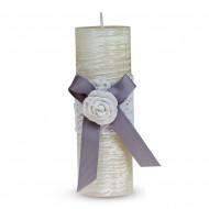 Свеча ароматизированная Бант с розой 15х5 см белая