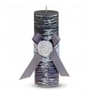 Свеча ароматизированная Бант с розой 15х5 см серая
