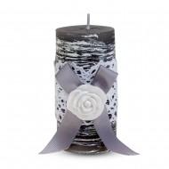 Свеча ароматизированная Бант с розой 13х5 см  серая