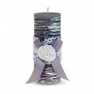 Свеча ароматизированная Бант с розой 11х5 см серая
