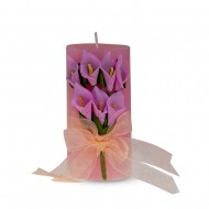 Свеча ароматизированная Букет каллов 11х5 см розовая