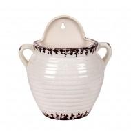 Кашпо керамическое белое 22х22 см