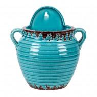 Кашпо керамическое голубое 25х26 см