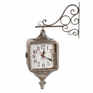 Часы на кронштейне двусторонние серебристого цвета 43х11х31 см