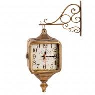 Часы на кронштейне двусторонние золотистого цвета 43х11х31 см