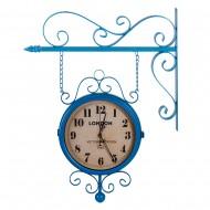 Часы на кронштейне двусторонние голубые 40х10х69 см