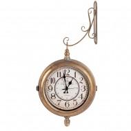 Часы на кронштейне двусторонние золотистого цвета 29х10 см
