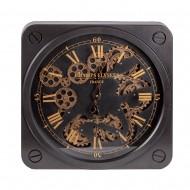 Часы настенные черные с двигающимися шестеренками 30х8 см