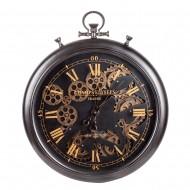 Часы настенные черные с двигающимися шестеренками 53х7,5х62 см