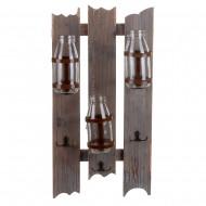 Вешалки на деревянной панели с бутылками 48х25х7 см