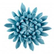 Цветок декоративный керамический головка Хризантемы голубой 9 см