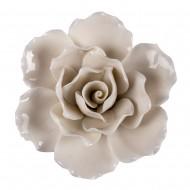 Цветок декоративный керамический  Головка Розы  белая 11 см