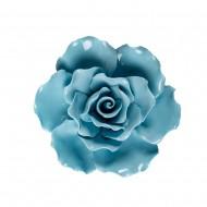 Цветок декоративный керамический  Головка Розы  голубая 11 см