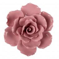 Цветок декоративный керамический  Головка Розы  розовая 11 см