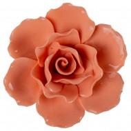 Цветок декоративный керамический  Головка Розы  оранжевая 11 см