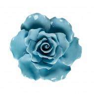 Цветок декоративный керамический  Головка Розы  голубая 8 см