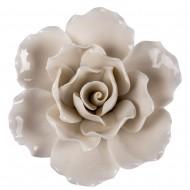 Цветок декоративный керамический  Головка Розы  белая 8 см
