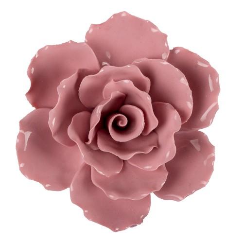 Цветок декоративный керамический  Головка Розы  розовая 8 см