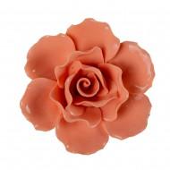 Цветок декоративный керамический  Головка Розы  оранжевая 8 см