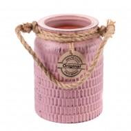 Ваза-банка розовая 12,5х17 см