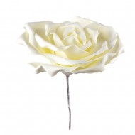 Искусственная головка розы белая флуомеран 40 см