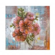 Панно настенное на дереве Цветы 82х82 см