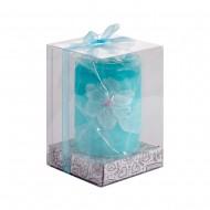 Свеча голубая в коробке 7х10 см