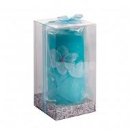 Свеча голубая в коробке 7х13 см