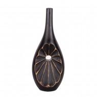 Ваза темно коричневая с золотом  в форме бутылки 20х13х50 см
