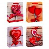 Пакет подарочный Сердца 26х32х10 см