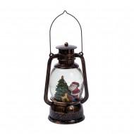 Новогоднее украшение Фонарь с ёлочкой и Дед Морозом 11х6х19 см