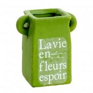 Горшочек для цветов зеленый 9х5,5х5,5 см