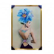 Панно настенное Модель с голубым цветком 83х125 см