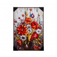Панно настенное Полевые цветы в вазе 62х92 см