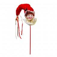 Новогоднее украшение  Эльф на палочке 70 см