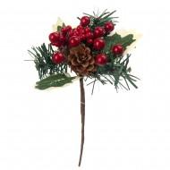 Новогоднее украшение Веточка с ягодами 18 см