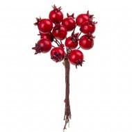 Новогоднее украшение Букет ягод шиповника 12 шт 9 см