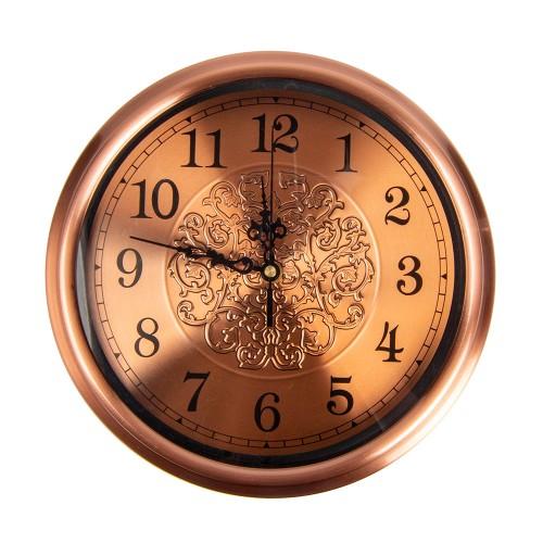 Часы настенные металлические (цвет бронза) 28х28 см