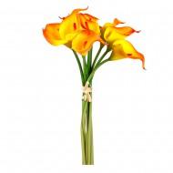 Букет искусственных  Каллов (желто-оранжевого цвета ) 9 шт 35 см