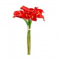 Букет искусственных  Каллов (красного цвета) 9 шт 35 см